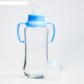 Бутылочка для кормления с ручками, стекло, 240 мл., цвет микс
