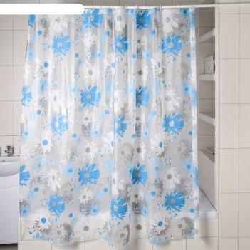Штора для ванной 180x180 см, васильки, eva