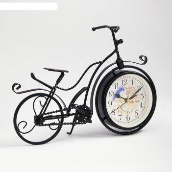 Часы настольные велосипед ретро, черные, 33х24 см
