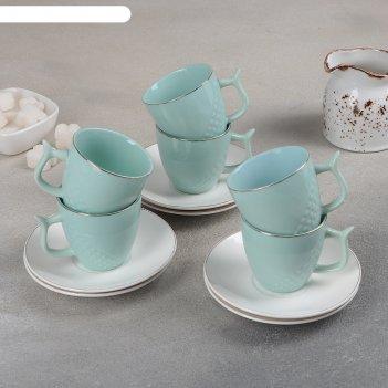 Сервиз кофейный 12 пред нюд 6 чашка 8х6х6 см, 100 мл, 6 блюдец 12 см, цвет