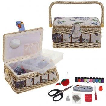 Шкатулка для рукоделия с подносом и набором для шитья, l24 w...