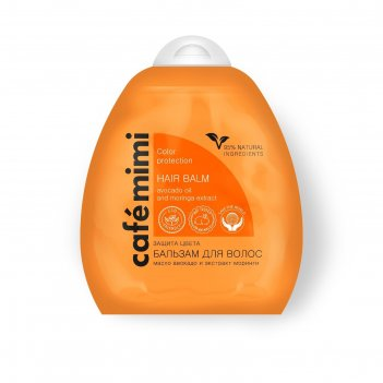 Бальзам для волос cafe mimi защита цвета и блеск, масло авокадо и моринги,
