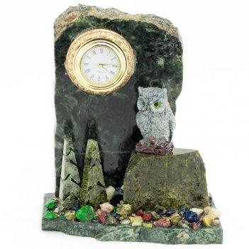 Часы сова змеевик