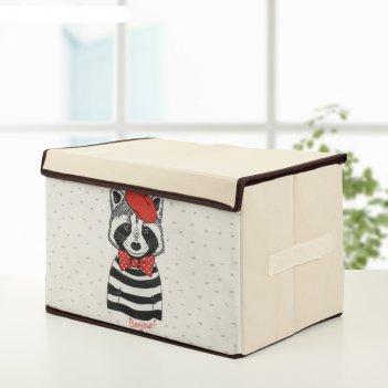 Короб для хранения с крышкой 39x25x25 см «енот»