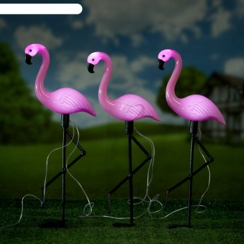 Садовый светильник фламинго стоя на солнечной батарее, набор из 3 шт., 52,