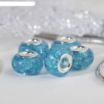 Бусина сахарный кварц, цвет голубой в серебре