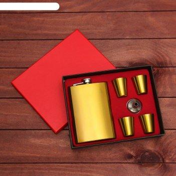 Подарочный набор 6в1 золотой: фляжка 270 мл, 4 рюмки, воронка