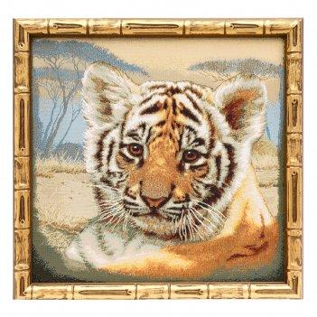 Гобеленовая картина дикие кошки тигренок евро 38х37см  №1
