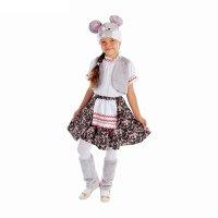 Карнавал кост для девочки мышка блузка, юбка с фартуком, меховой жилет, ун