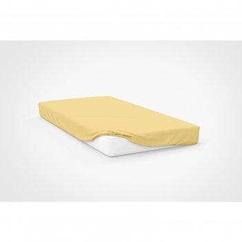 Простыня на резинке, размер 120 x 200 см, цвет трикотаж, жёлтый