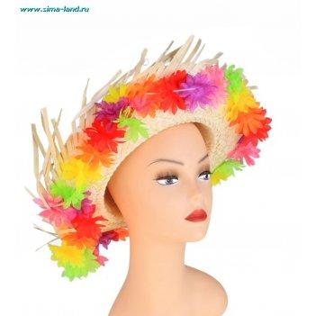 Шляпа гавайская яркие цветы с выемкой