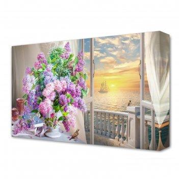 Картина на холсте букет сирени у окна 60*100 см