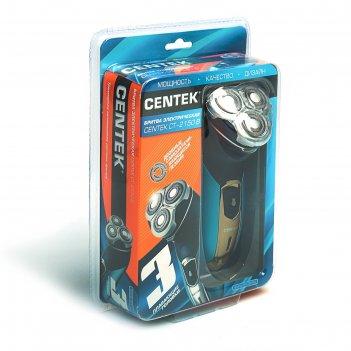 Бритва centek ct-2150 b, 3 вт, роторная, плавающие головки, триммер, синий