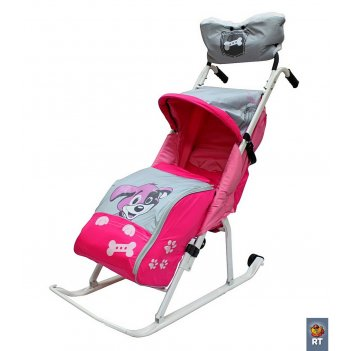 Санки-коляска комфорт люкс 11 любопытный щенок с колесиками и муфтой розов