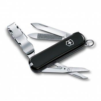 Нож-брелок victorinox nailclip 580, 65 мм, 8 функций, чёрный