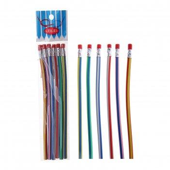 Набор карандашей чернографитных, гнущиеся, с ластиками, 6 шт., микс