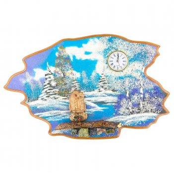 Часы с картиной сова зима 50х32 см