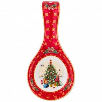 Подставка под ложку lefard с новым годом! елка 22 см красная (кор=24шт.)