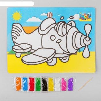 Фреска с цветным основанием самолетик 9 цветов песка по 2 г