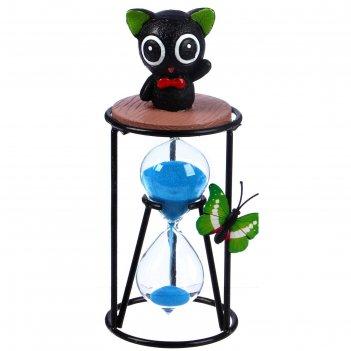 Часы песочные чёрный котик, 8х19 см, микс