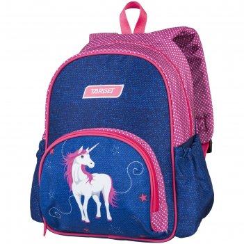 Рюкзак школьный target 35*28*12 дев. белая лошадь, синий/розовый
