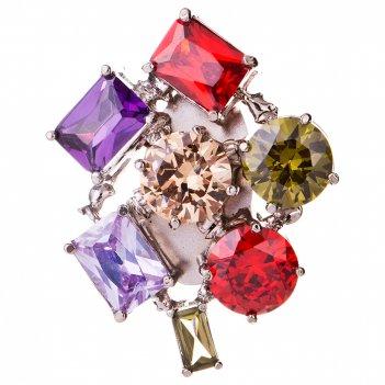 Брошь с 6 разноцветными камнями