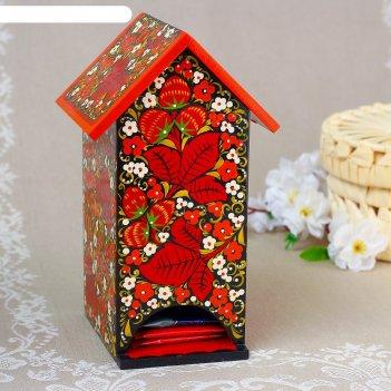 Чайный домик, 11x12x20 см, хохлома