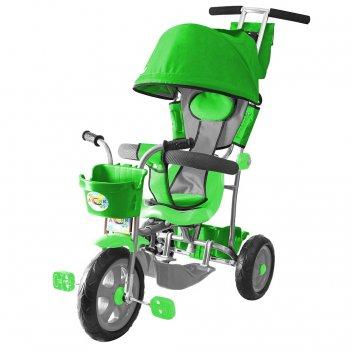 Л001 3-х колесный велосипед galaxy лучик с капюшоном зеленый