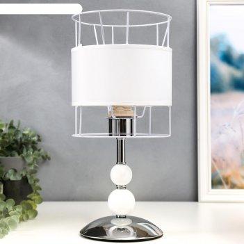Настольная лампа 6504 1х60вт е27 белый/хром 18х38 см