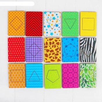 Деревянные карточки фигуры набор 15 карточек: 7 x 9 см
