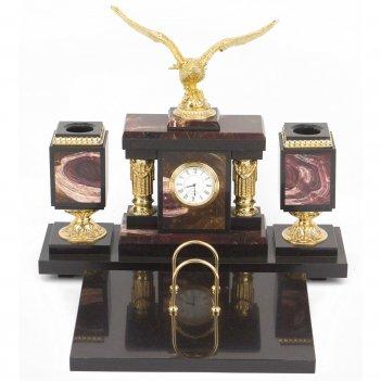 Настольный набор орел яшма долерит бронза 340х290х300 мм