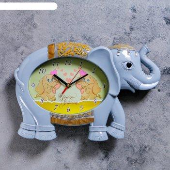 Часы настенные, серия: детские,  серый слоник, 36х24 см