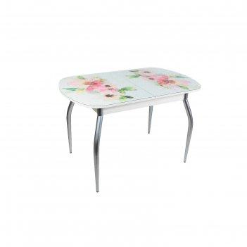 Стол голд раздвижной 1150(1450)х700 мм, стекло, механизм бабочка, хром, цв