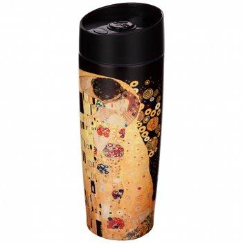 Термокружка agness  с кнопкой-стоппером серия арт коллекция, 380мл колба н