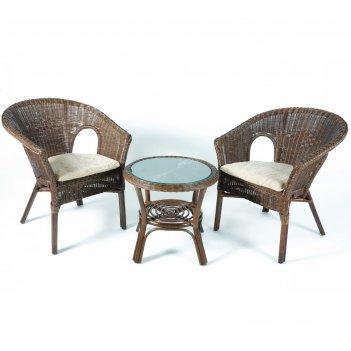 Набор мебели, 3 предмета: 2 кресла, стол, натуральный ротанг, цвет тёмно-к
