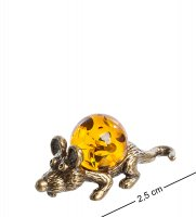 Am-1066 фигурка-кошельковая мышь-зубастик (латунь, янтарь)