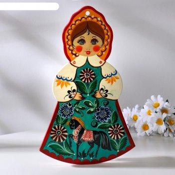 Доска разделочная «девочка», городецкая роспись, 18х31 см