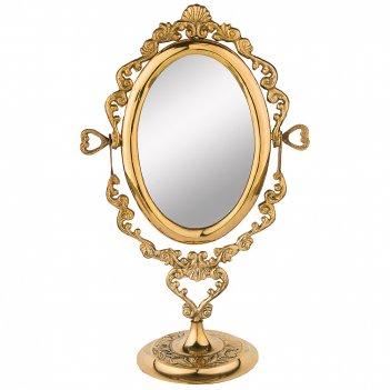 Зеркало настольное 18*10 см. высота=30 см. латунь (кор=24шт.)