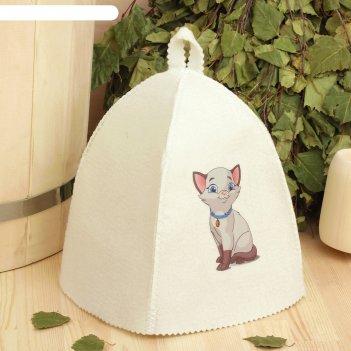 Банная шапка с детской термопечатью котёнок