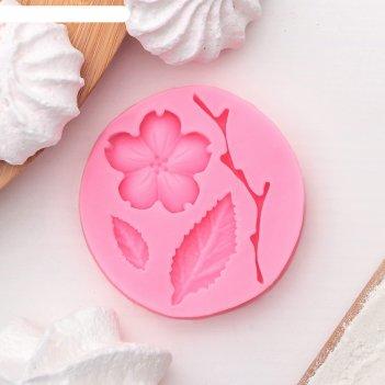 Молд силиконовый 5,5x0,9 см цветок, лист и веточка