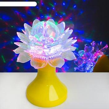 Световой прибор хрустальный шар цветок диаметр 12,5 см, 220 в, жёлтый