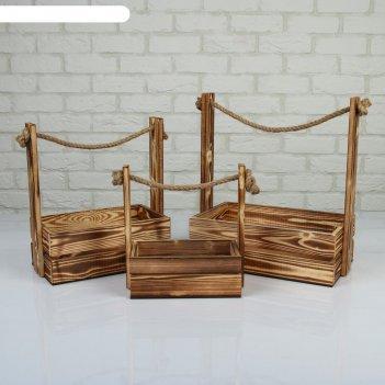 Набор кашпо деревянных 3 в 1 (30.5x18.5x35; 25.5x15x30; 20x12x23) аром, на