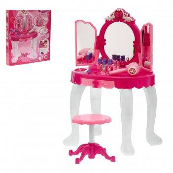 Игровой набор волшебница: столик с зеркалом, аксессуарами, феном, с пульто