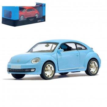 Машина металлическая volkswagen beetle coupe, 1:32, инерция, цвет голубой