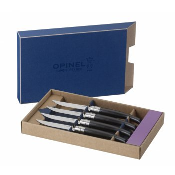 Набор столовых ножей opinel vri ebony из 4-х штук (нержавеющая сталь, длин