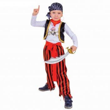 Карнавальный костюм пират, джемпер, брюки, пояс, маска, бандана, наглазник