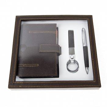 Подарочный набор 3пр. (блокнот, ручка, брелок) 21,5*20*3,5см. (кожзам, мет