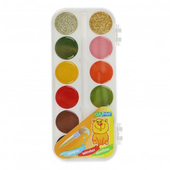 Акварель карамельная gaspar, с блёстками, 12 цветов, в пластиковой коробке