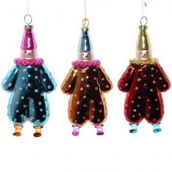 Украшение новогоднее клоун, l6,5 w3,5 h13,5 см, 3в.