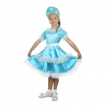 Карнавальный костюм снегурочка снежная, атлас, кокошник, платье, р-р 34, р